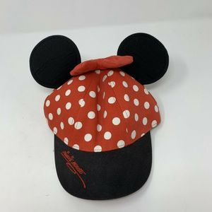 Disney Girls Minnie Mouse Hat Red Polka Dot Ears